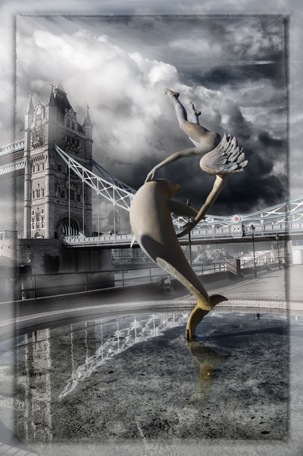 Tower Bridge with Statue  IDN0068421-GRB